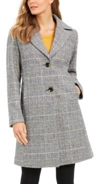 Tahari Plaid Reefer Coat