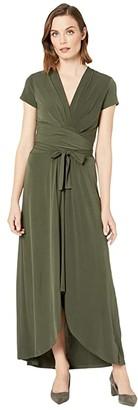 MICHAEL Michael Kors Cap Sleeve Maxi Wrap Dress (Ivy) Women's Dress