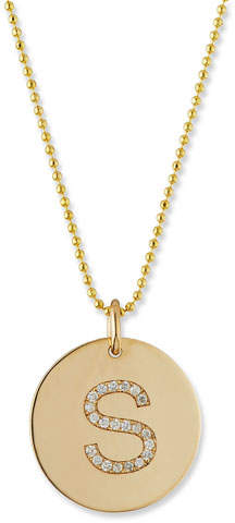 Chicco Zoe Pave Diamond Initial Disc Pendant Necklace