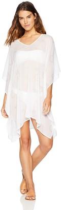 Oasis Wild Beachwear Women's Foil Print Lazer Cut Swimsuit Bikini Cover Up X-Large White