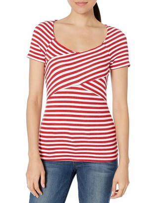 Three Dots Women's Nantucket Stripe Terry Crossover Mid Tight Shirt