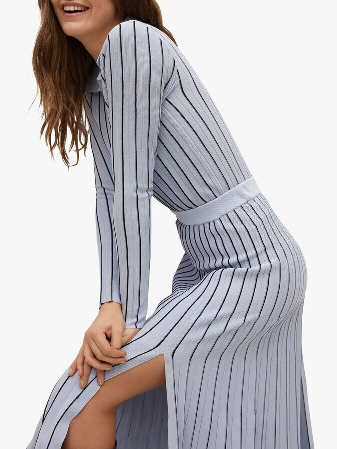 Thumbnail for your product : MANGO Striped Pleated Midi Skirt, Blue