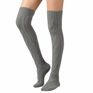 ANGUYA Womens Girls Winter Cable Knitted Over Knee Socks Thigh High Boot Socks Leg Warmer (Grey One size)