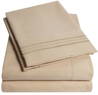 Sweet Home Collection 1800 Thread Count 4 Piece Deep Pocket Bedroom Bed Sheet Set Split King - Taupe