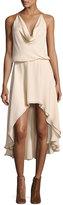 Haute Hippie Michelle Sleeveless Cowl-Neck High-Low Dress