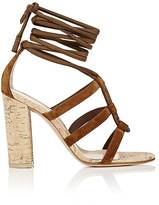 Gianvito Rossi Women's Cayman Suede Ankle-Tie Sandals-BROWN