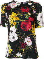 Dolce & Gabbana Flowers Print Silk Top