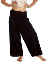 Siam Secrets Unisex 100% Light Cotton Thai Fisherman Pants One-size Black