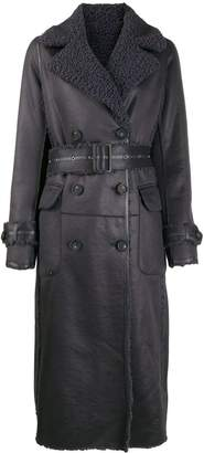 Urban Code Urbancode belted leather effect coat