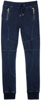 Balmain Indigo Cotton Biker Jogging Trousers