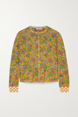 Tory Burch Cropped Checked Floral-print Cotton-blend Cardigan - Mustard