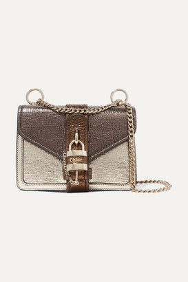 Chloé Aby Chain Mini Metallic Color-block Textured-leather Shoulder Bag - Gold