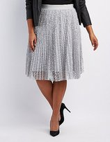Charlotte Russe Plus Size Lace Pleated Midi Skirt
