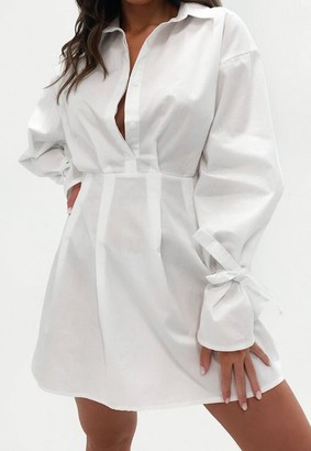 Missguided White Tie Sleeve Skater Shirt Dress