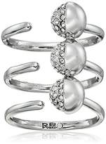 Rebecca Minkoff Triple Pave Ball Silver Ring, Size 7