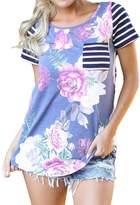 SUBWELL Women's Short Sleeve Striped Tops Casual Floral Printed T Shirt With Pocket