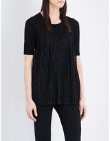 Sandro Pleated lace-overlay linen and cotton-blend top