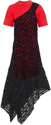 McQ Asymmetric Crochet-lace And Cotton-jersey Midi Dress