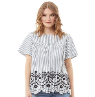 Onfire Womens Embroidered Scallop Hem Blouse Black/White/Blue