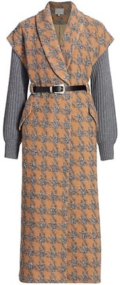 Cinq à Sept Melissa Wool-Blend Rib-Knit Sleeve Houndstooth Coat