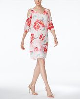 Connected Floral-Print Chiffon Cold-Shoulder Dress