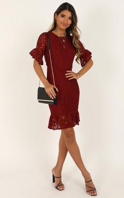 Showpo Cant Go Back Dress in wine lace - 4 (XXS) Dresses