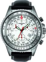 Torgoen T20104S02 Men's Aviator Quartz Watch with Chronograph and Black Leather Strap