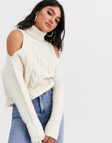 Asos Design DESIGN cold shoulder cable sweater