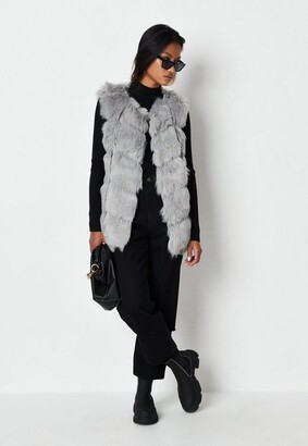 Missguided Grey Faux Fur Bubble Vest