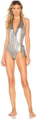 Adriana Degreas Cross Front Halter One Piece