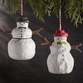 Crate & Barrel Snowman with Hat Papier-Mâché Ornaments