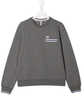 Sun 68 TEEN stripe-trim crew neck sweatshirt