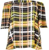 River Island Womens Plus yellow checked bardot top
