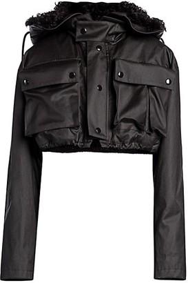 Bottega Veneta Coated Waterproof Cropped Shearling-Lined Jacket