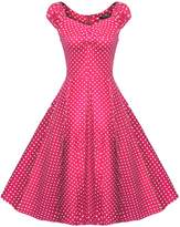 ACEVOG Women 1950s Retro Vintage Cap Sleeve Party Swing Dress