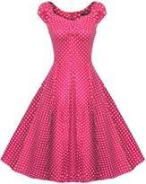 ACEVOG Women's 1950s V Neck Vintage Cut Out Retro Party Cocktail Dresses