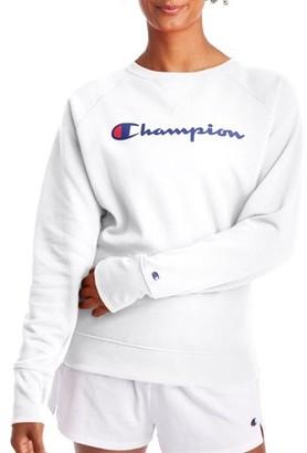 Champion Women's Powerblend Fleece Boyfriend Crew Neck Sweatshirt -Graphic