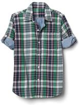 Plaid double-woven convertible shirt