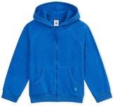 Petit Bateau Boys hooded sweatshirt in fine terry cloth bouclette