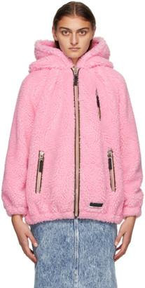 Miu Miu Pink Teddy Bear Fleece Zip-Up Jacket