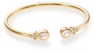 Temple St. Clair Bellina Royal Blue Moonstone, Diamond & 18K Yellow Gold Bangle Bracelet