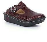 Alegria Classic Hand-Stitched Leather Cutout Adjustable Buckle Slip-On Clogs