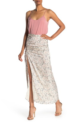 NSR Siena Ruched Slit Maxi Skirt
