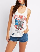 Charlotte Russe Destroyed America Graphic Tank Top