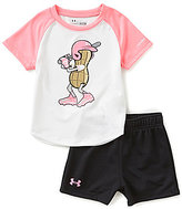 Under Armour Baby Girls 12-24 Months Peanut-Character-Screenprint Tee & Solid Shorts Set