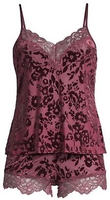 In Bloom Burnout 2-Piece Velvet Cami & Shorts Pajama Set