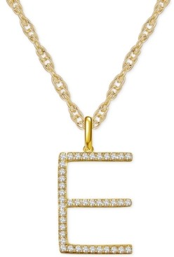"""Macy's Diamond Initial 18"""" Pendant Necklace (1/6-1/3 ct. t.w.) in 14k Gold"""