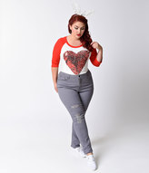 tdc Plus Size Grey Denim Distressed High Waisted Stretch Skinny Jeans
