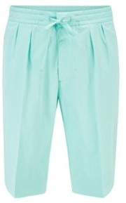 HUGO BOSS Relaxed Fit Shorts In Paper Touch Stretch Cotton - Light Green