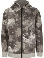 River Island Boys khaki camo zip up hoodie